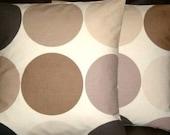 "2 18"" Contemporary Brown Cream Spot Print Design Funky Designer Retro Cotton Pillowcases,Cushion Covers,Pillow"