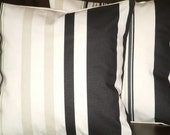 Two New Handmade 16 inch Contemporary Cotton Black Stripe Funky Designer Retro Pillow Cases , Cushion Covers, Pillow