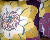 Two New 16 inch Handmade Mustard Purple Blue Cream Flower Print Design Funky Contemporary Designer Retro Pillowcases,Cushion Covers,Pillow Covers,Throw Pillow,NEW FABRIC