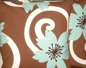 """2 x 18"""" Duck Egg Blue Brown Designer Contemporary Modern Funky Cushion Covers,Pillow Cases,Pillow Covers,Pillow"""