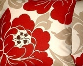 """2 18"""" Contemporary Red Cream Taupe Design Funky Designer Retro Pillowcases,Cushion Covers,Pillow Covers,Throw Pillows,NEW FABRIC"""
