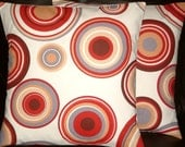 """2 18"""" Contemporary Red Brown Cream Circles Retro Cushion Covers,Pillowcases,Pillow Covers,Scatter Cushions,Pillow Slips,New Fabric,45cm"""