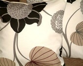 """2 18"""" Contemporary Black Brown Cream Flower Designer Retro Funky Cotton Cushion Covers, Pillowcases, Pillow Covers,Pillow Slips"""