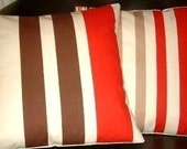 """2 New 18"""" Handmade Contemporary Red Brown Stripes Funky Designer Retro Pillowcases,Cushion Covers,Pillow Covers,Pillow"""