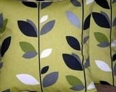 "2 18"" Kiwi Green Black Leaf Print Design Funky Designer Cushion Covers,Pillow Covers,Throw Pillow,Pillowcases"