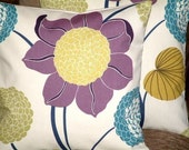 """2 18"""" Contemporary Purple Plum Saffron Yellow Teal Flower Designer Funky Cotton Cushion Covers,Pillowcases,Pillow covers,Throw Pillow"""
