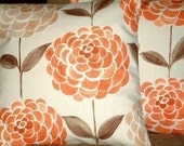"""2 16"""" Tangerine Orange Brown Print Design Funky Contemporary Pillowcases,Cushion Covers,Pillow Covers,Throw Pillow,NEW FABRIC"""