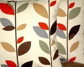 """2 18"""" Cinnamon Red Brown Black Green Gray Leaf Print Contemporary Designer Pillowcases,Cushion Covers,Pillow Covers,Throw Pillow,NEW FABRIC"""