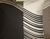 2 New Handmade Contemporary Modern 16 inch Black Grey Cream Brown Wavy Line Print Design Funky Designer Retro Pillow Cases,Cushion Covers,Pillow Covers,Pillow