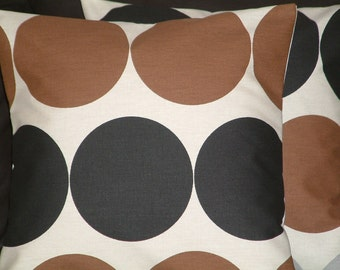 """2 16"""" Mocha, Chocolate Brown Black  Spots Funky designer retro Pillowcases,Cushion Covers,Pillow Covers,Pillow"""