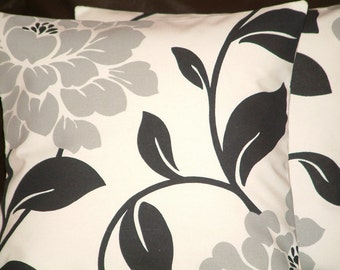 "2 16"" Contemporary Black Large Grey Flower Funky Designer Retro Pillowcases,Cushion Covers,Pillow Covers,Pillow"