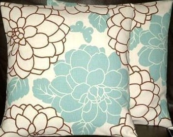 "LIMITED STOCK 2 16"" Contemporary Duck Egg Blue Flower Designer Retro Pillow Cases,Cushion Covers,Pillow Covers,Pillow"