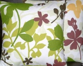 "2 New 16"" Green Brown Designer Retro Funky Contemporary, Cushion Covers,Pillowcases,Pillow Covers,Pillow, Decorative Pillow,NEW FABRIC"