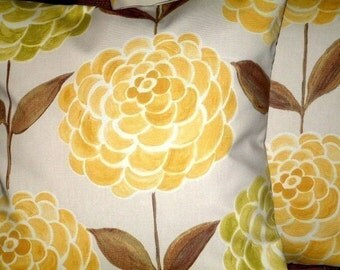 2 New 16 inch Primrose Yellow Green Brown Cream Flower Print Funky Designer,Cushion Covers,Pillow Covers,Throw Pillow,NEW FABRIC