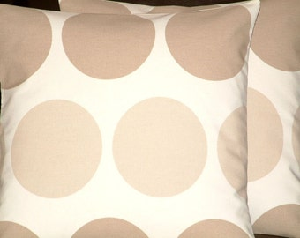 "2 x 16"" Handmade Modern Contemporary Brown Cream Spot Print Funky Designer Retro Cotton Pillow Cases,Cushion Covers,Pillow"