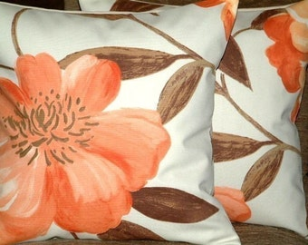 "2 16"" Tangerine Orange,Brown,Cream Flower Print Design Funky Contemporary Designer Retro Pillow Cases,Cushion Covers,P"