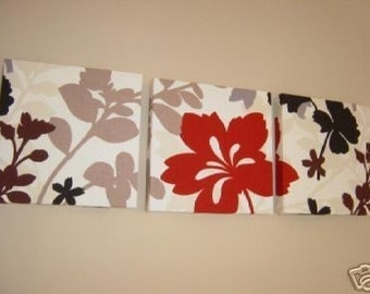 Handmade Set Of 3  Red Black Brown Contemporary Designer Retro Print Design Very Funky Wall Hanging Canvases Wall Art.