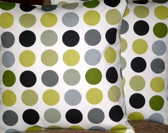 "2 18"" Kiwi Green Spots Print Design Funky Contemporary Designer Retro Pillowcases,Cushion Covers,Pillow Covers,Throw Pillow,NEW FABRIC"
