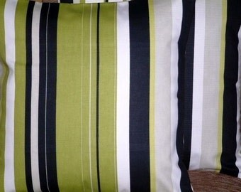"2 16"" Kiwi Green Black White Stripe Print Design Funky Contemporary Designer Retro Pillow Cases,Cushion Covers,Pillow Covers"