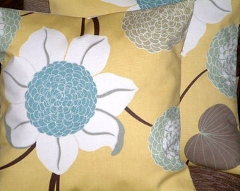 "2 18"" Contemporary Duck Egg Blue Saffron Yellow Flower Designer Funky Cushion Covers,Pillowcases,Pillow covers,Throw Pillows,NEW FABRIC"