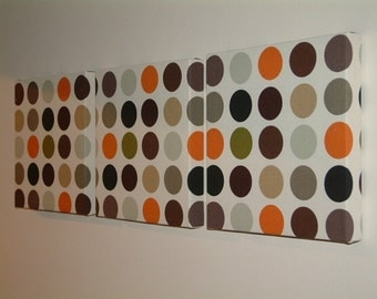 Set Of 3 Contemporary Modern Retro Print Design Orange Brown Black Green Spots Autumn Fall Wall Hanging Canvases Fabric Wall Art Wall Decor