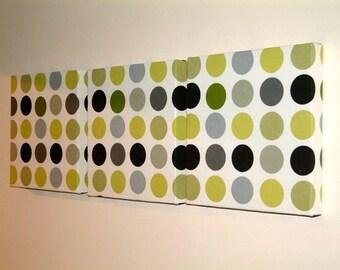 Handmade Set Of 3 Contemporary Modern Designer Retro Print Design Very Funky  Kiwi Green Black Grey Spots Wall Hanging Canvases Fabric Wall Art Wall Decor,NEW FABRIC