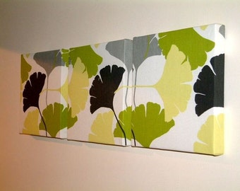Set Of 3 Contemporary Modern Designer Retro Print Green,Grey, Pale Yellow and Black Fan Wall Hanging Canvases,Fabric Wall Art Wall Decor