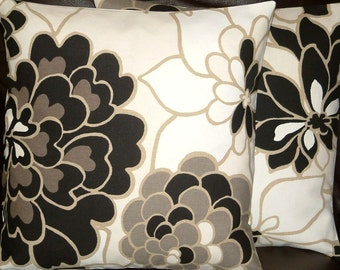 "2 16"" Contemporary Handmade Black Brown Off White Floral Design Funky Designer Retro Pillowcases,Cushion Covers,Pillow Covers,Throw Pillow"