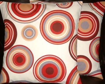 "2 16"" Contemporary Red Brown Cream Circles Design Designer Retro Cushion Covers,Pillow Cases,Pillow Covers,Scatter Cushions,Pillow"