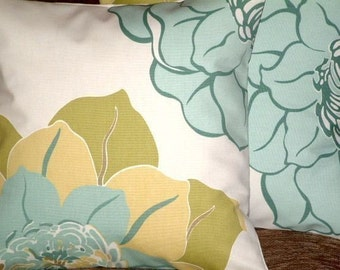 "2 16"" Contemporary Duck Egg Blue Cream Large Flower Designer Funky Cushion Covers,Pillowcases,Pillow covers,Throw Pillow"
