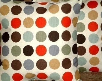 "2 New 16"" Cinnamon Red Brown Black Green Spotty Print Design Contemporary Designer Pillowcases,Pillow Covers,Throw Pillow,NEW FABRIC,40cms"