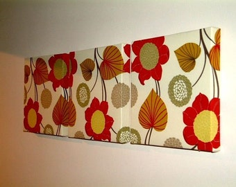 Handmade Set Of 3 Contemporary Modern Designer Retro Print Design Very Funky  Pink Red Green Mustard Brown Cream Flower Wall Hanging Canvases Fabric Wall Art Wall Decor,NEW FABRIC