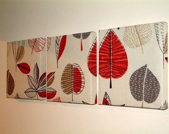Set Of 3 Contemporary Modern Designer Retro Funky Red Grey Gray Brown Black Leaf Branch Tree Wall Hanging Canvases,Wall Art NEW FABRIC