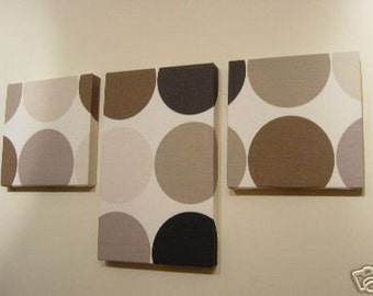 Handmade Set Of 3 Contemporary Modern Designer Retro Print Design Very Funky Brown Cream Spot Wall Hanging Canvases Wall Art.