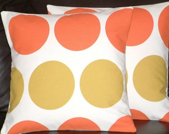 "2 16"" Contemporary New Manderin Orange Green Spots Funky Retro Pillowcases,Cushion Covers,Pillow Covers,Pillows,New Fabric,40cms"