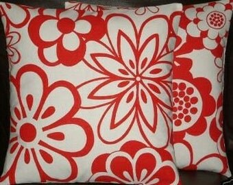 "2 16"" New Contemporary Red Flowers Designer Retro Funky Cushion Covers, Pillowcases, Pillow Covers,Pillow"
