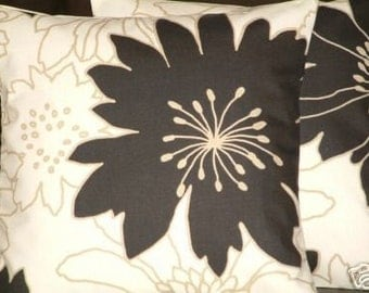"2 16"" Contemporary Modern Black Flower Designer Retro Funky Cotton Cushion Covers,Pillowcases,Pillow Covers,Pillow"