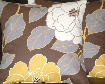 """2 16"""" Contemporary Chocolate Brown Mustard Flower Designer Retro Funky Cushion Covers,Pillowcases,Pillow Covers,Pillows,Slips"""