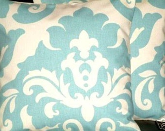 "2 x 16"" Duck Egg Blue Damask Print Design Funky Designer Retro Cotton Pillow Cases,Cushion Covers,Pillow"