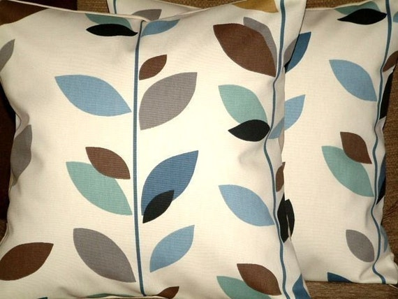 Pair Of New 16 inch Handmade Duck Egg Blue,Brown, Black, Grey,Cream Leaf Print Design Funky Contemporary Designer Retro Pillow Cases,Cushion Covers,Pillow Covers,Throw Pillow,NEW FABRIC