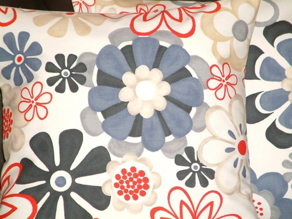 Pair Of  New Modern Contemporary 16 inch Blue Red Funky Designer Retro Cotton Pillow Cases,Cushion Covers,Pillow