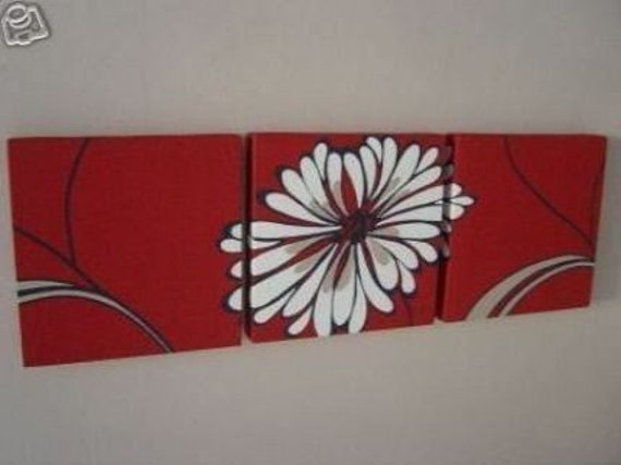 Handmade Set Of 3 Contemporary Modern Designer Retro Print Design Very Funky Red White Large  Flower Wall Hanging Canvases Wall Art.