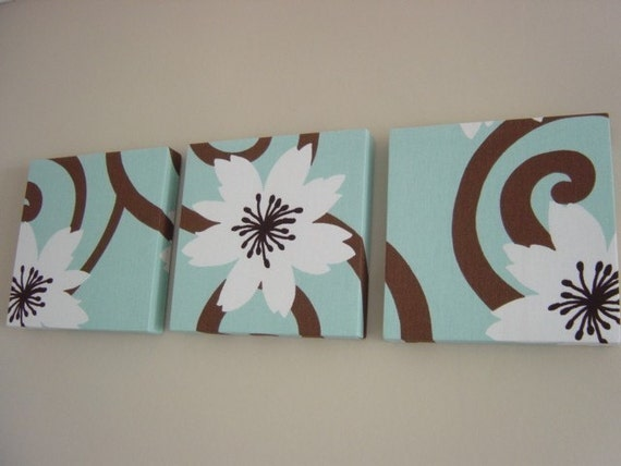 Handmade Set Of 3 Contemporary Flower Duck Egg Blue Chocolate Brown Wall Hanging Canvases Wall Art (Matching Pillows Available)