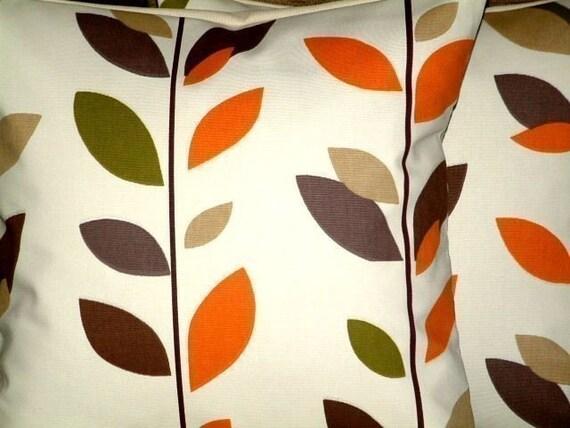 "2 x 16"" Caramel Orange Leaf Print Design Funky Contemporary Designer Retro Pillowcases,Cushion Covers,Pillow Covers,Throw Pillow,NEW FABRIC"