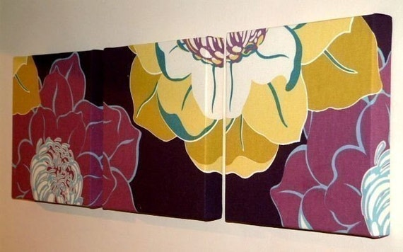 Set Of 3 Contemporary Modern Retro Print Design Purple Plum Pale Yellow Mustard Flower Wall Hanging,Canvases,Fabric Wall Art, Wall Decor