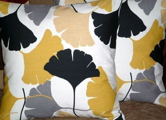 """2 16"""" Mustard Yellow Grey Black Fan Print Design Contemporary Retro Pillowcases,Cushion Covers,Pillow Covers,Throw Pillow,NEW FABRIC"""