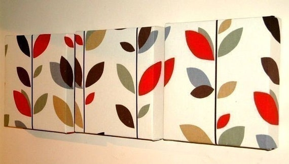 Set Of 3 Contemporary Retro Print Design Cinnamon Red Brown Black Green Grey Leaf Wall Hanging Canvases Fabric Wall Art Wall Decor