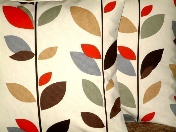 2 18 Cinnamon Red Brown Black Green Gray Leaf Print