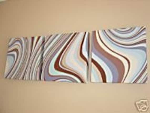 Handmade Set Of 3 Blue Brown Wall Decor Contemporary Designer Retro Swirl Print Design Funky Wall Hanging Canvases Wall Art.