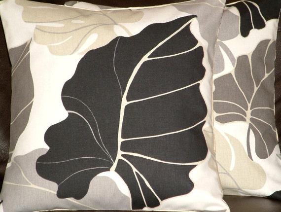 Two New Handmade Contemporary Cotton 16 inch Autumn Black Grey Leaf Funky Designer Retro Pillow covers, Pillow Cases, Cushion Covers,Pillow